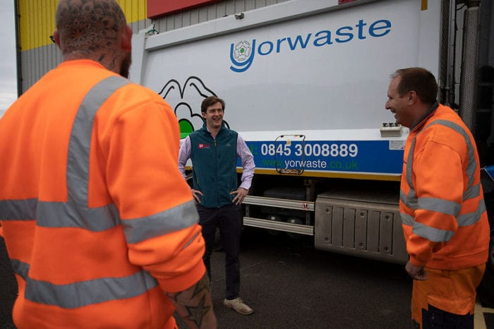 Yorwaste waste management experts laughing with a customer