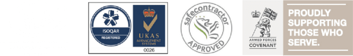 Banner of our HA accredited contractor badge, ISOQAR Registration accredited badge, UKAS Management systems accreditation and safe contractor approved credible badge